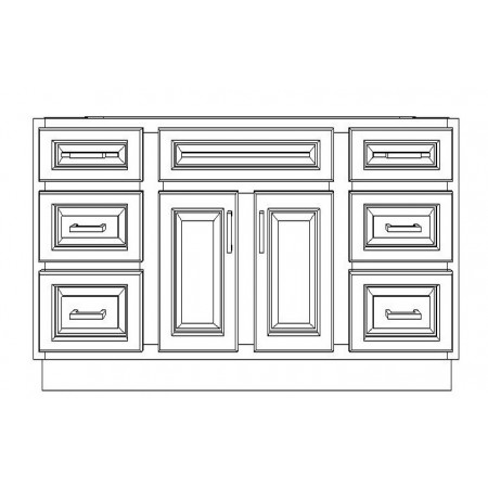 """VSD54D/WHS(54"""" Cabinet)-6 Drawers"""