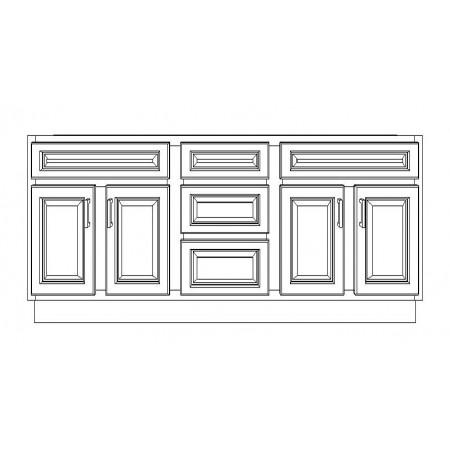 "VSD72DD/IWC(72"" Cabinet)-3 Drawers"